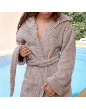 Hooded bathrobe Taupe