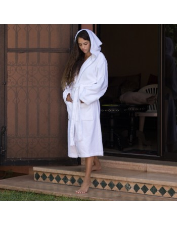 Ribbed hooded bathrobe