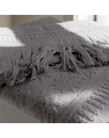 Hamam grey towel with Fringes